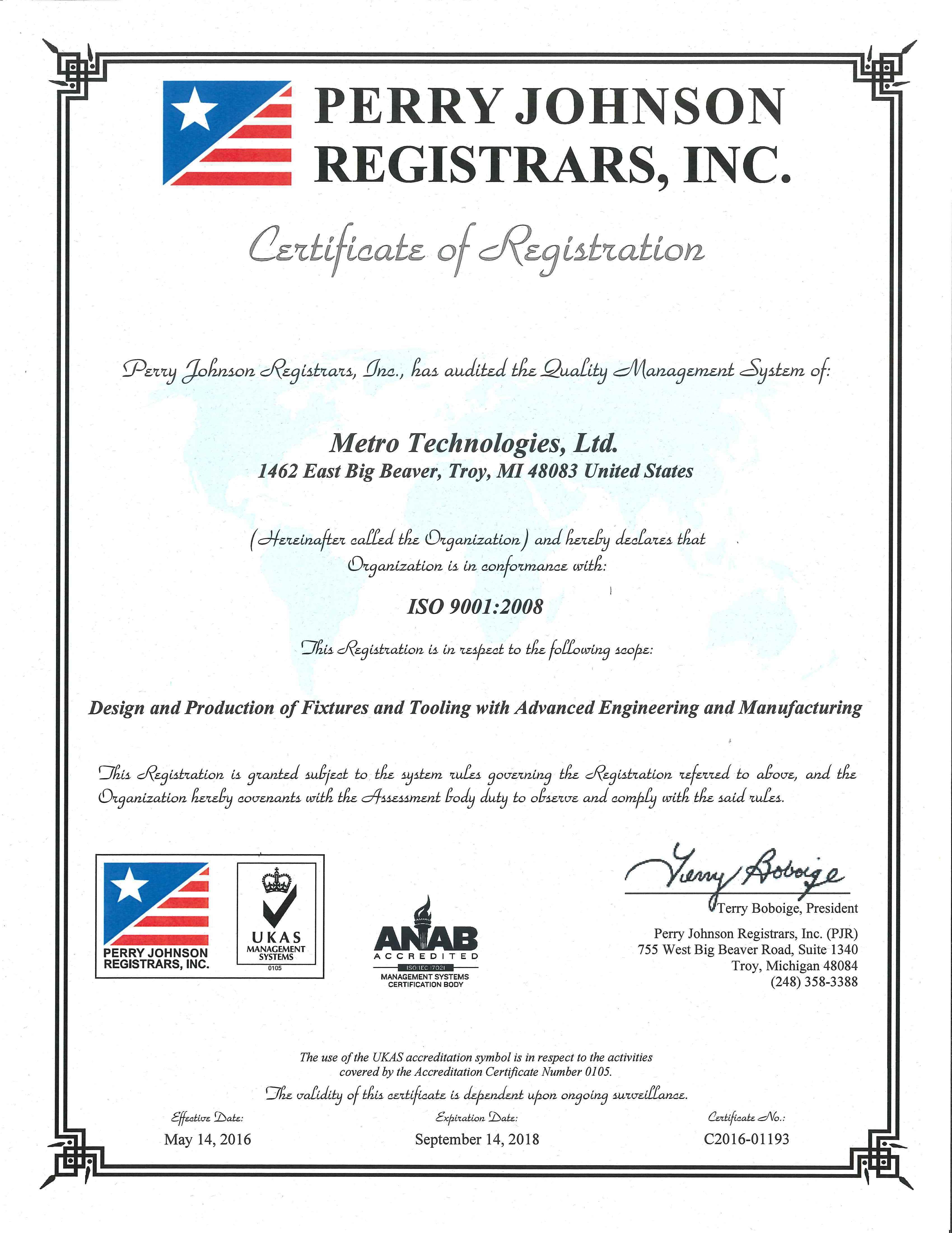 Metro technologies compuer aided manufacturing company brochure iso 90012008 certified 1betcityfo Images